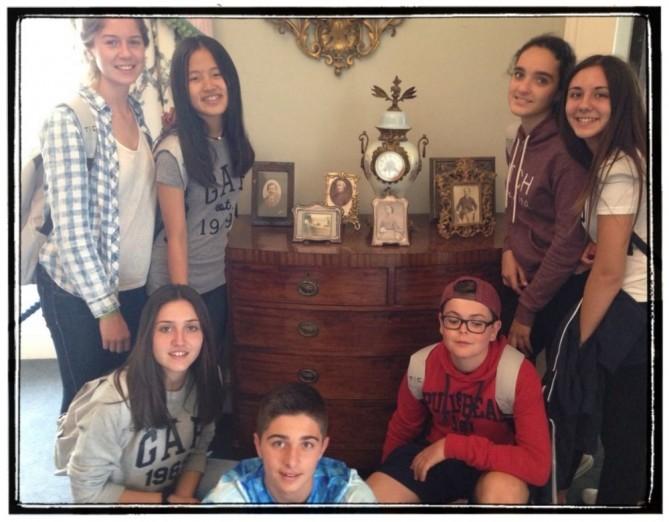 Con los antepasados de la familia Talbot.