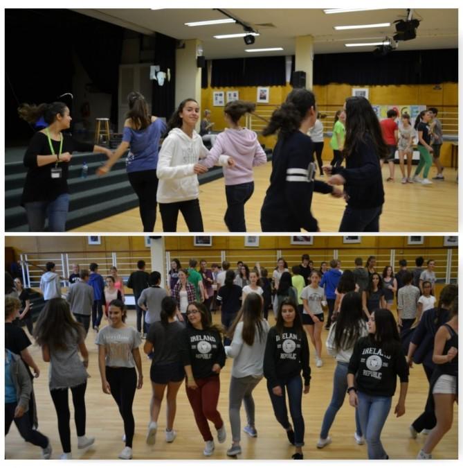 Practicando la típica danza irlandesa.