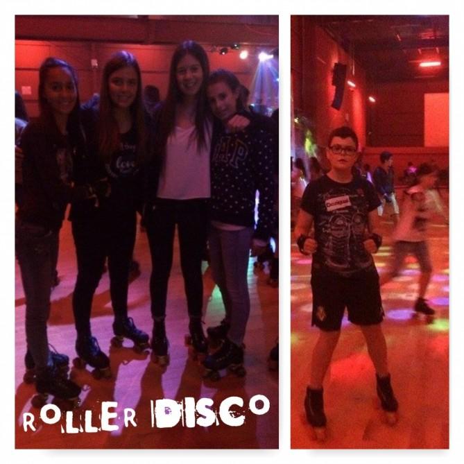 Algunos de los estudiantes en la roller disco